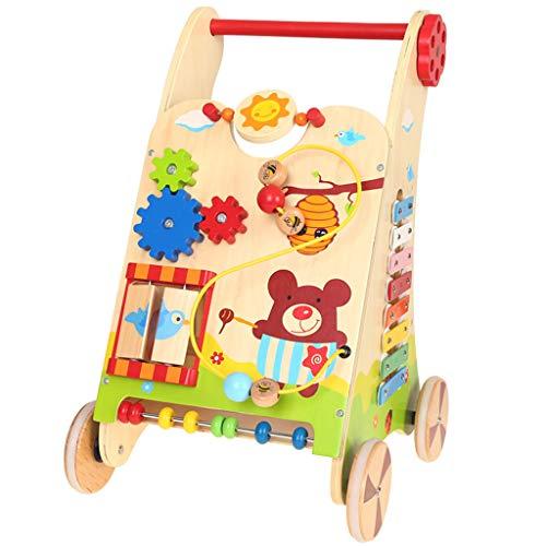 Baby Walkers Marcheur en Bois, Cadeau de Naissance pour Tout-Petit Cadeau d'anniversaire pour bébé d'anniversaire 0-2 33 × 34 × 52 cm