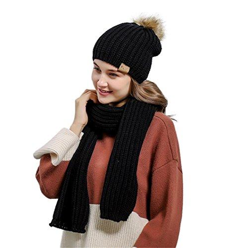Blau Stricken Hut-set (Mütze Schal Set Damen, DoraMe Frauen Häkeln Hut Fell Wolle Stricken Warme Mützen + Schal Anzug Waschbär (Schwarz))