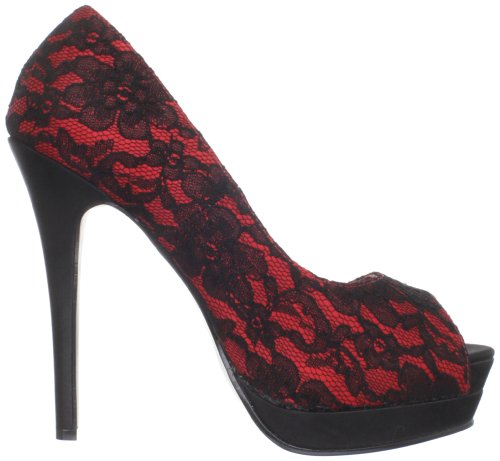 Pinup-Couture Open Toe High-Heel Pumps Bella-16 - Schwarz Rot