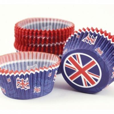 Dekorationen Party British (Olympia/Jubiläum Dekoration–Großbritannien Union Jack Cupcake Fällen X)