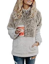 ORANDESIGNE Sudadera para Mujer Invierno Manga Larga Cremallera Sudadera Sherpa Pullover Jersey de Lana Chaqueta Suéter Abrigo…