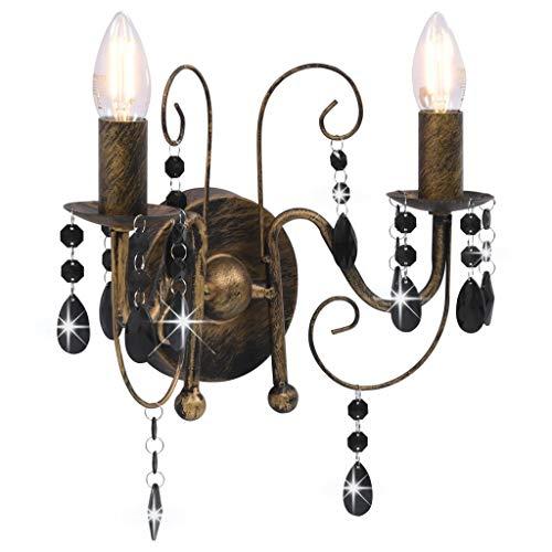 vidaXL Wandleuchte mit Perlen Wandlampe Flurlampe Treppenleuchte Kristall Lampe Leuchte Wand Beleuchtung Kronleuchter Antik-Schwarz 2xE14-Glühbirnen
