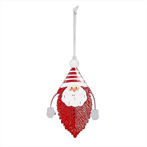 lingzhuo-shop Schmiedeeisen Schneemann Elch Weihnachtsmann Blattform Weihnachtsdekoration Geschenk Christbaumschmuck Fenster Dekoration Anhänger Mit Lanyard (OPP) -