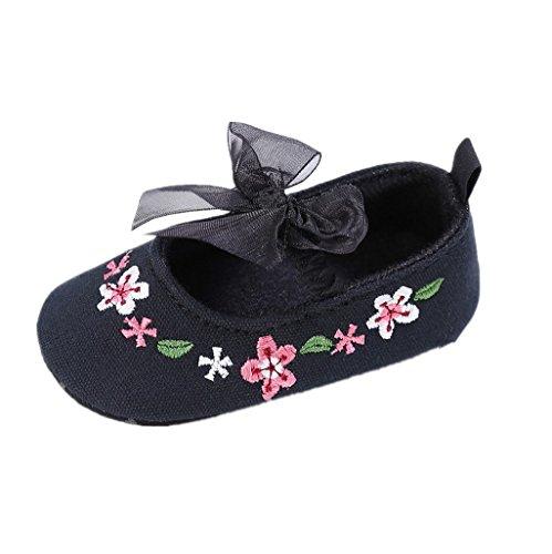 Baby Schuhe Auxma Baby-Mädchen-Segeltuch-Schuhe,Blumen-Schuhe Sneaker Anti-Rutsch-Soft Sole Kleinkind (12-18 M, Schwarz) Schwarz