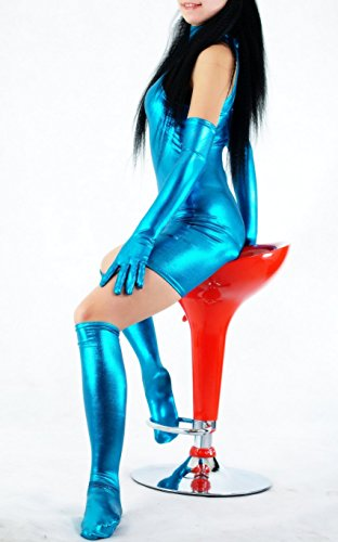 Schwarz gummiert Avatar Kleidung/Kostüme/Kleidung/Body Gymnastik-ärmellos-Kleidung/Körper Anzüge S-blau