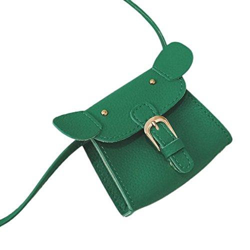 BZLine® Kinder Cute Animal Print Leder Messenger Bag Umhängetasche Mini Tasche Grün