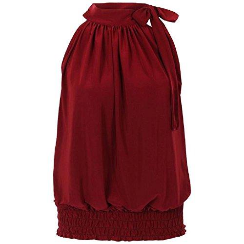 Flirty Wardrobe Haut dos-nu Sans manches pour femme Débardeur Long avec Taille 36–50 Rouge - Bordeaux