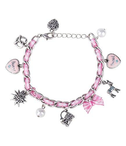 "SIX ""Oktoberfest Damen Armband Silberne Glieder Textilband rosa weiß Vichy Karo Perlen Charms Edelweiß Brezel REH Bierkrug Lebkuchenherz (731-445)"