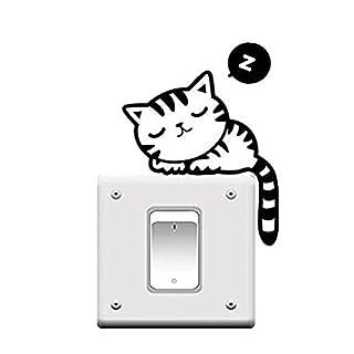 Hilai Cute Cat Nap Pet Light Switch Funny Wall Decal Vinyl Stickers Black hellip;
