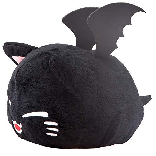 (Meralens Horror Nemu Neko Plüschtier Vampir Fledermaus Katze passend Halloween Dekoration schwarz mit Vampirzähnen - 40 x 30 cm Plüschtier mit Flügel)