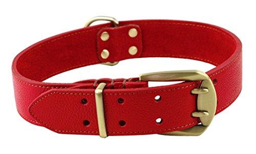 Rantow Réglable en chenille en cuir pour les grands chiens, longueur réglable de 23,5 pouces à 27,5 pouces, 1,57 pouces de large, super forte double ceintures trous (rouge)