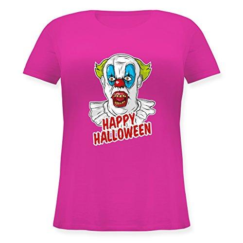 Halloween - Happy Halloween - Clown - M (46) - Fuchsia - JHK601 - Lockeres Damen-Shirt in großen Größen mit Rundhalsausschnitt (Furchterregende Clown Kostüm)