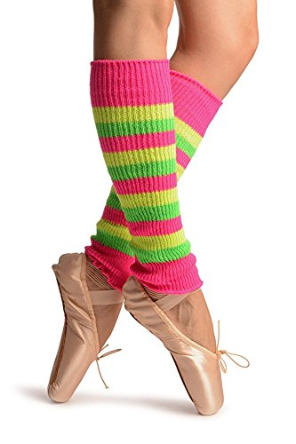 Neon Striped Multi Coloured Knitted Leg Warmers for Women