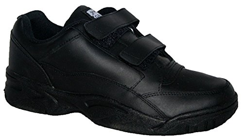 WIDE FITTING MENS TRAINER, LEATHER UPPERS WITH NONE SLIP SOLE BLACK 8