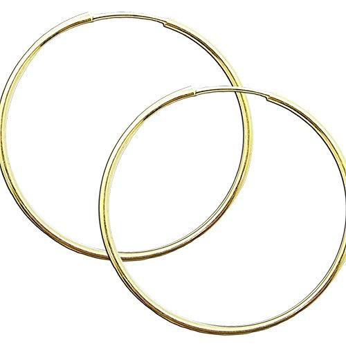1 Paar Creolen Creole Ohr Ohrringe 925 Sterling Silber 24 Karat Gold Echt Schmuck Ohrschmuck Silberschmuck, Farbe:gold - 40 mm