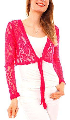Sexy Top come Maglietta a maniche lunghe da donna Dolcevita maniche lunghe e scollo rotondo o Bolero in pizzo trasparente taglia unica Slim Fit aderente aderente Pink