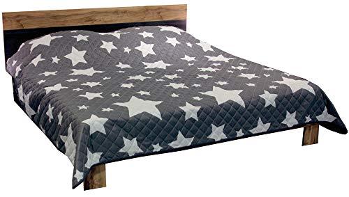 Bestlivings Tages-Decke XXL (220x240 cm) mit wattierter Zwischenlage, in verschiedenen gesteppten Patchwork Designs, Überwurf Steppbett (Design: Sterne grau) -