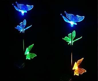 iclever@Papillons Lumineuses Solaire Multicolores pour la décoration extérieur