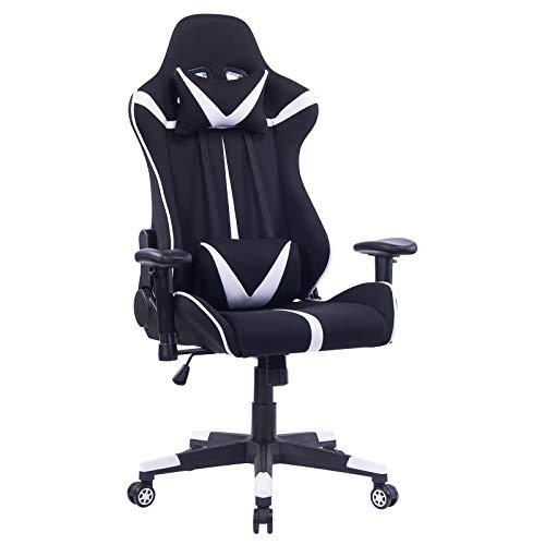 WOLTU® Racing Stuhl Gaming Stuhl Bürostuhl Schreibtischstuhl Sportsitz mit Armlehne, mit Kopfstütze und Lendenkissen, höhenverstellbar, dick gepolsterte Sitzfläche aus Stoffbezug, Weiß, BS38ws