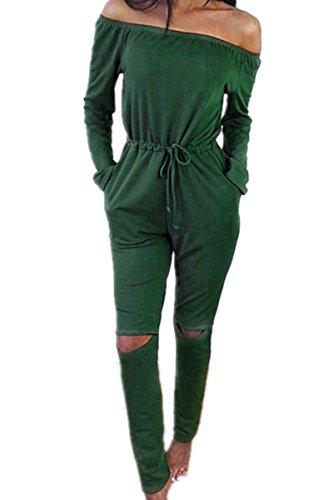 Monissy Damen Langarm Hosenanzug Jumpsuit Damen Elegant Lang Hosen Trägerlos Overall
