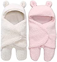 BRANDONN All Season Luxury Baby Clothing Hooded Wrapper Baby Blanket Cum Sleeping Bag for Babies(White Sherpa/