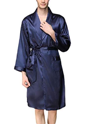 Robe Kimono Cardigan Big and Tall Satin Silky Loungewear Blue L ()