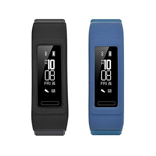 NEWZEROL Ersatz für Huawei Band 3 Pro Schutzhülle - Fitness Tracker Hülle case Cover für Huawei Band 3 Pro- (Schwarz und Blau) [Lebenslange Umtausch-Garantie]