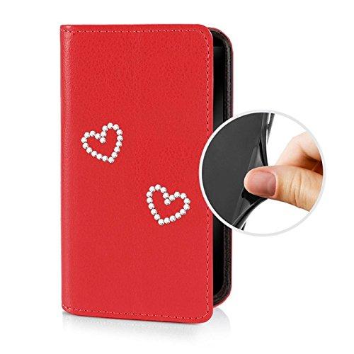 Für Apple iPhone --- 6s-Plus --- eSPee Hülle Schutzhülle Wallet Flip Case Cremeweiss mit Strass Herz UNZERBRECHLICHER Silikon Schale / Bumper und Magnetverschluss Rot