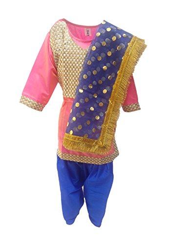 KAKU FANCY DRESSES Girl's Polyester Punjabi Dress (Kfd129.1, Pink, 3-4 Years)