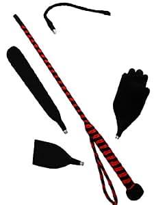 Fouet en cuir synthétique noir/rouge avec accessoires