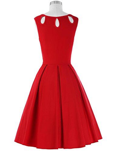Belle Poque 50s Vintage Rockabilly Kleid Festliches Kleid Partykleider Petticoat Kleid BP092-2 (Rot)