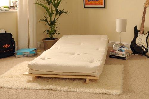 2ft6 Small Single Wooden Futon Set with Natural Cream Mattress