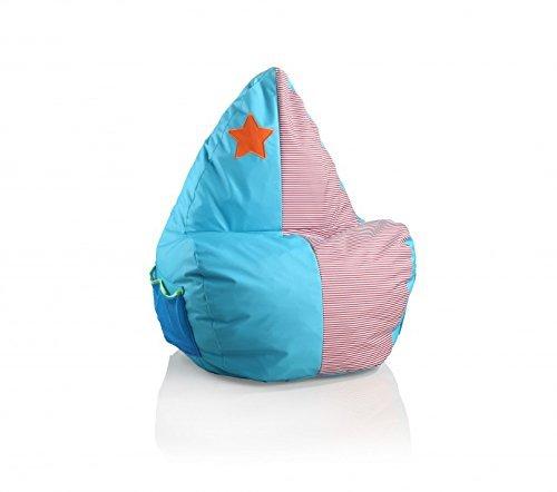 Sitzsack Sitzsäcke Sitzsaecke Kindersitzsack Stern Motiv Blau Rot Weiß Gestreift