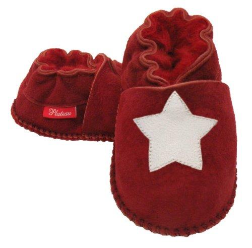 Plateau Tibet - VERITABLE laine d'agneau Bottines Chaussures Chaussons en cuir souple pour bébé garçon fille enfant - 6 COULEURS Rouge (Red)