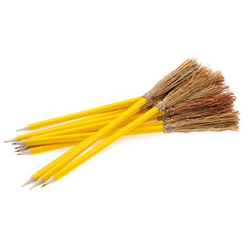 12 Bleistift Besen - 26 cm - Farbe Gelb