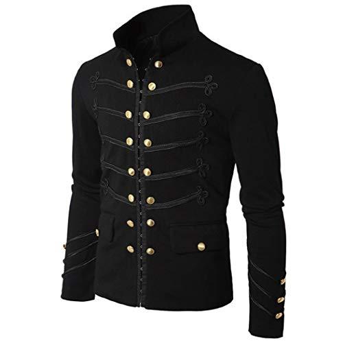 (XWBO Herren Steampunk Jacke Button Down Gothic Blazer Military Stehkragen Punk Mantel Outwear Kostüm Cosplay Uniform für Männer)