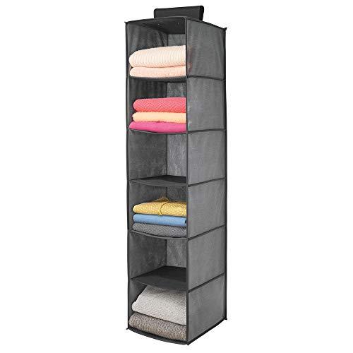 mDesign hängender Stoffschrank aus Kunstfaser – 6 Regalfächer – Hängeschrank aus Stoff für das Schlafzimmer – perfekt auch als Hängeregal für Kleidung, Gürtel, Clutches – grau und schwarz