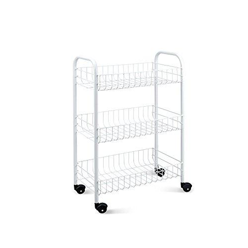 Metaltex SIENA - Carro multiuso para cocina y baño con ruedas y 3 cestos, blanco