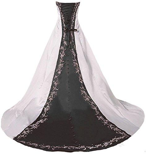 Vantexi Damen Trägerloses Stickerei Brautkleid Hochzeitskleider Elfenbein Schwarz 34