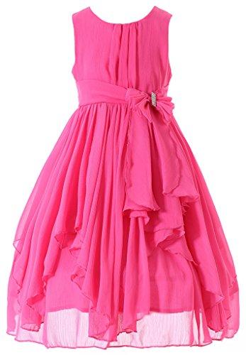 HAPPY ROSE Juniorbrautjungfernkleid Abschlussball-Partykleid Kleid für Mädchen Fuchsien 6_Jahre (Mädchen Für Kleider Fuchsie)