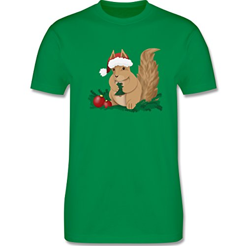 Weihnachten & Silvester - Weihnachten Eichhörnchen - Herren Premium T-Shirt Grün