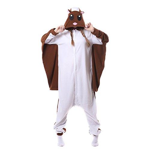 Silver_river Unisex Erwachsense Halloween Kostüm Schlafanzug Fliegendes Eichhörnchen