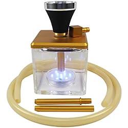 Crossdresser Hookah Traje de Pipa de Agua acrílico de Cintura pequeña con Tubos de Traje de Manguera,Gold