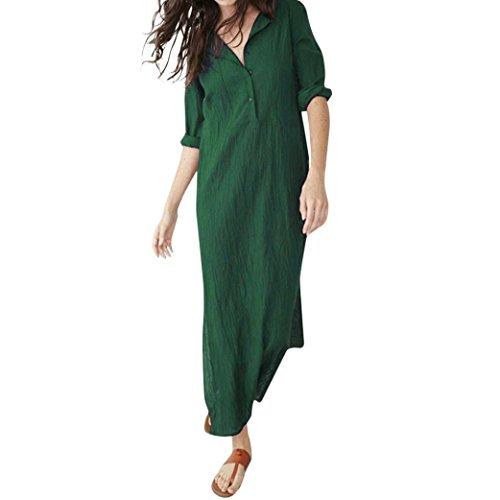 Longra Damen Leinenkleid Vintage Baumwollleinen Kleider Lange Maxikleider Longblusen Damen V-Ausschnitt Kleider Langarm Kleid Lang Tunika Kleid...