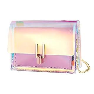 BESTOYARD Transparente Handtasche bunte Kette Tasche Rainbow Laser Geldbörsen Clear Jelly Mini Tasche für Frauen (Pink)
