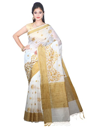 Asavari Daisy White - Jute Border,Pallu,Blouse - Chanderi Cotton Saree with Lucknow...