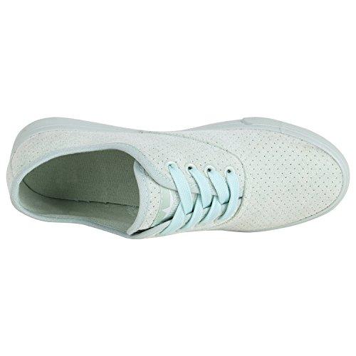 Damen Sneakers Stoff Sneaker Low Muster Basic Schuhe Animal Print Freizeit Turnschuhe Schnürer Flandell Hellgrün Brooklyn