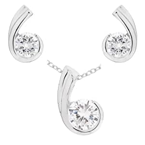 Ornami Jewellery Set with Platinum Plated Silver Cubic Zirconia Pendant, Earring and Chain of 46cm