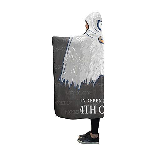 ecke American National Bird Eagle 4. Juli 60x50 Zoll Comfotable Mit Kapuze Wurfverpackung ()