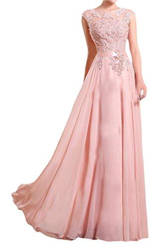 Milano Bride Damen Reizend Lang Chiffon Spitze Abendkleider Brautmutter  Promkleider Applikation Durchsichtig Rosa